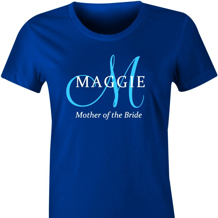 Monogram Personalised TShirt An elegant tshirt for your Bridal Party, a gorgeous gift they can wear long after the wedding.  Personalise with a large initial, the name and role in the Bridal ...