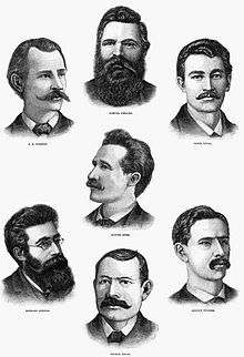 Haymarket affair - Engraving of the seven anarchists sentenced to die for Degan's murder. An eighth defendant, Oscar Neebe, not shown here, was sentenced to 15 years in prison.