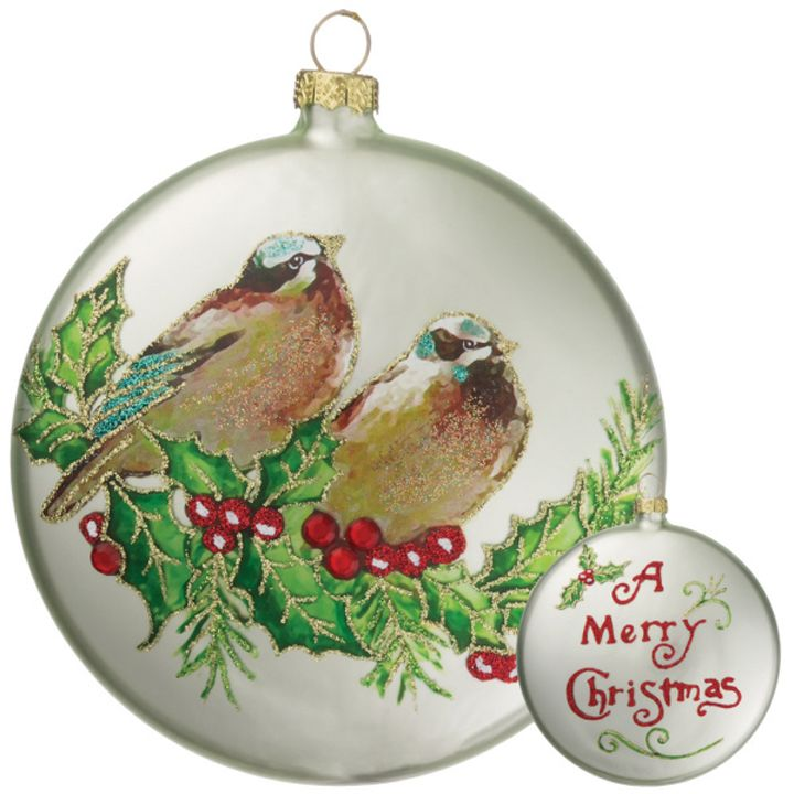 our bird holly disc ornaments with their hand painted appearance are a must for our homespun. Black Bedroom Furniture Sets. Home Design Ideas