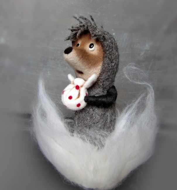 Ручная одежда Ежик в тумане интерьерная игрушка из шерсти 4000