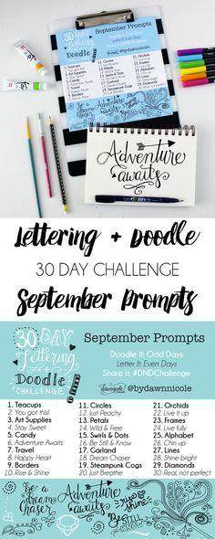 30 Day Hand-Lettering & Doodle Challenge: September Prompts   dawnnicoledesigns.com