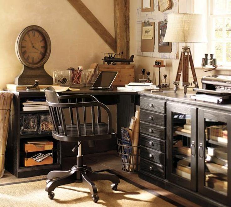 bureau d'angle en bois de design contemporain par Pottery Barn