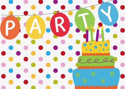 Farbenfrohe Einladung Zur Geburtstagsparty Mit Konfetti, Torte Und Party Girlande.  Nur Eigenen Text