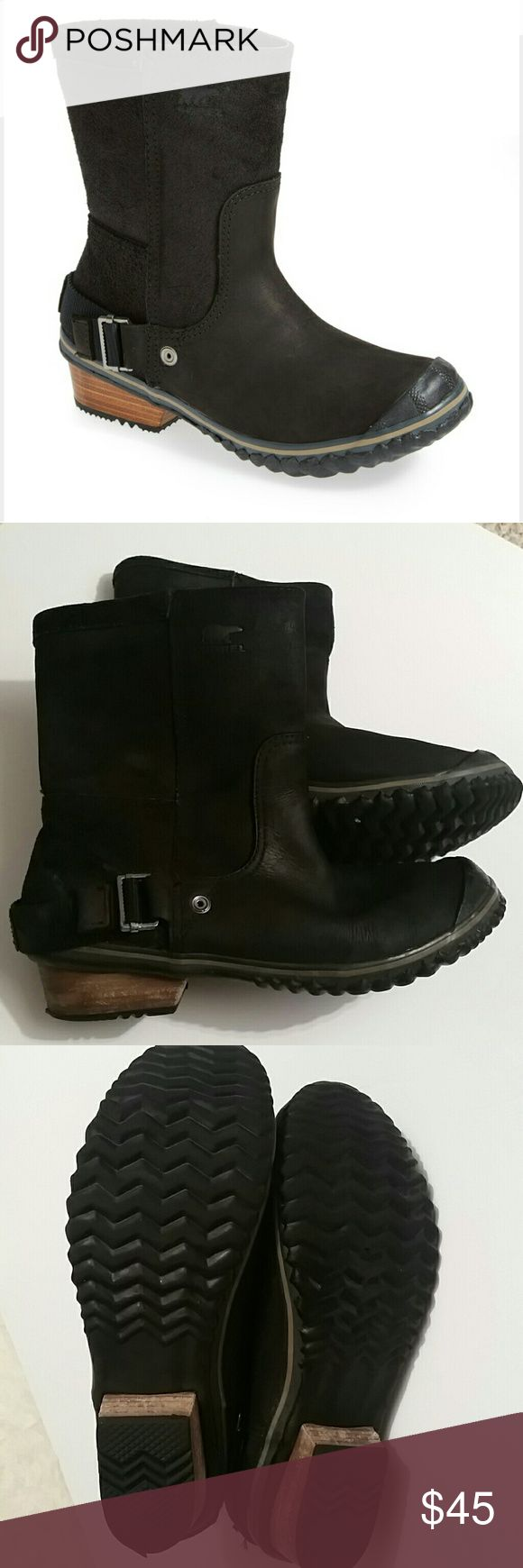 Sorel Black Slimshortie Boot Waterproof black boots with rubber toe.  Engineer style with slight heel. Worn, but still in great condition!  Women's size 8.5 Sorel Shoes Winter & Rain Boots
