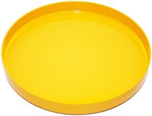 Yellow plastic tray, made in Sweden
