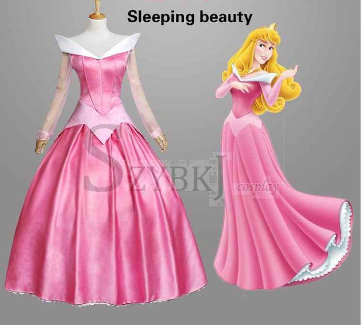 Новейший костюм платье 2015 взрослых спящая красавица костюм принцесса аврора платье женщины CostumeSZYBKJAA0340