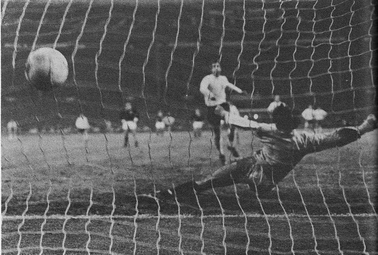 10th May 1969. Striker Geoff Hurst puts England 3-0 up when he beats Scotland's Jim Herriot from the penalty spot.