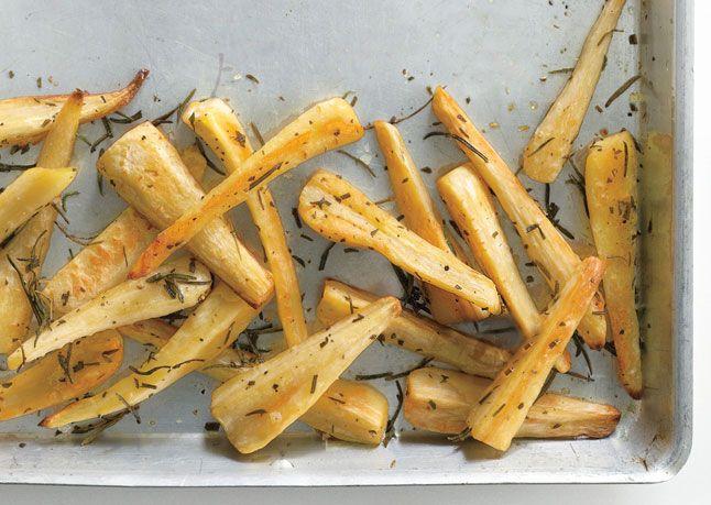 Baked Parsnip Fries with Rosemary Recipe - Bon Appétit #vegan #glutenfree