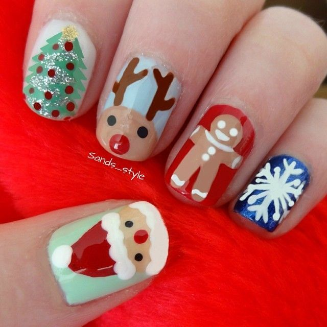 xmas nail art - gingerbread man http://hubz.info/70/beautiful-backless-dresses-ideas-for-a-sexy-look