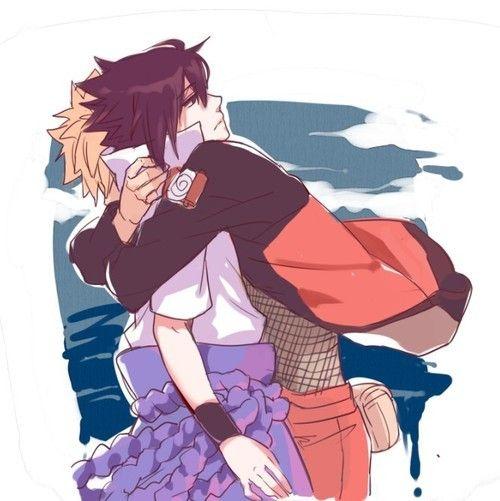 Naruto and Sasuke hug~ well it's more just naruto hugging Sasuke as Sasuke proceeds to stand there're awkwardly, but it's close enough.