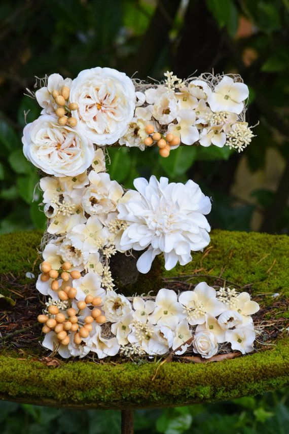 Shabby chic floral letter decoration for mantle home for Living room 7 letters