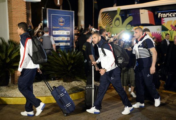 RIBEIRAO PRETO, BRAZIL - France's defender Raphael Varane, forward Karim Benzema and goalkeeper Stephane Ruffier arrive at the JP Hotel, which will host the French national football team during the World Cup