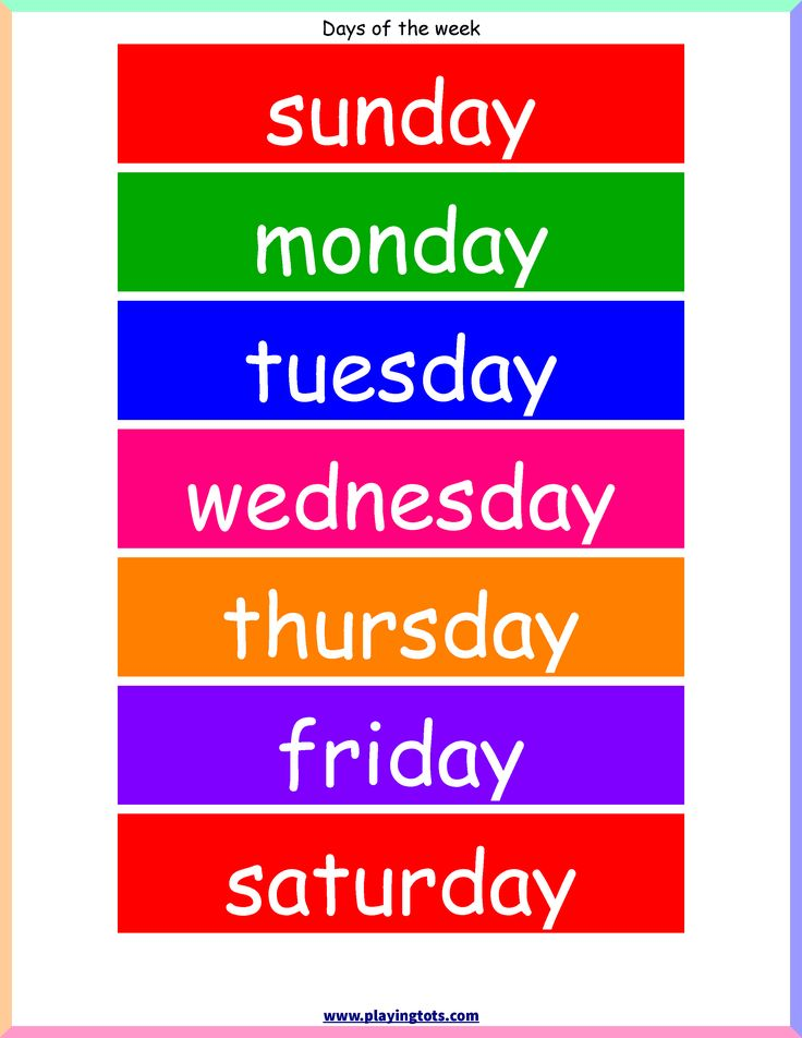 image about Printable Days of the Week Chart named totally free printable times of the 7 days chart - Sinma