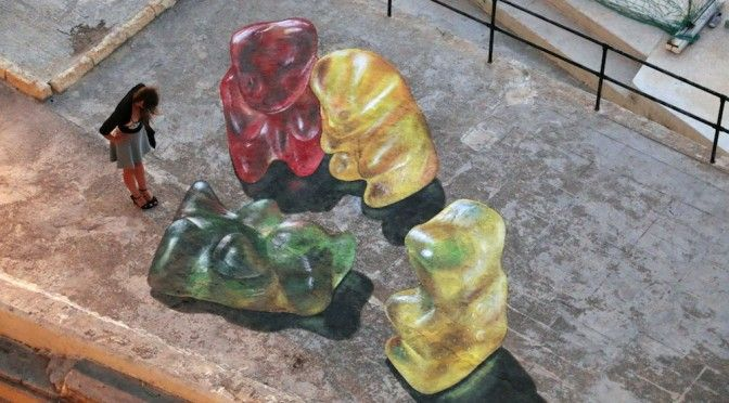 Мармеладные мишки. Рисунки на асфальте http://www.prohandmade.ru/other/marmeladnye-mishki-risunki-na-asfalte/  #мармеладные_мишки #рисунки_на_асфальте #уличный_художник #творчество