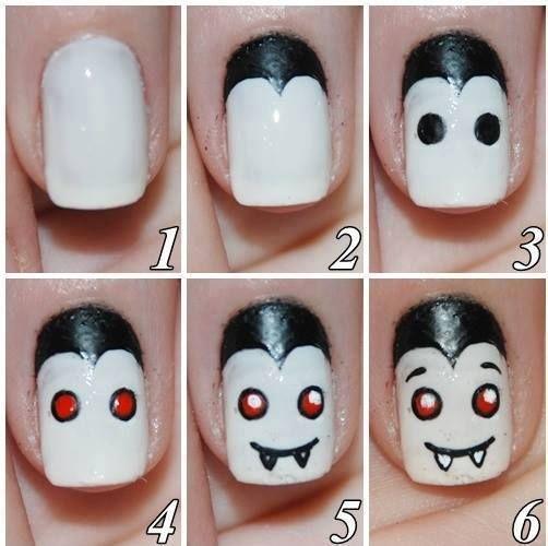Easy Halloween Nails art Vernie a ongle facile pour l'Halloween