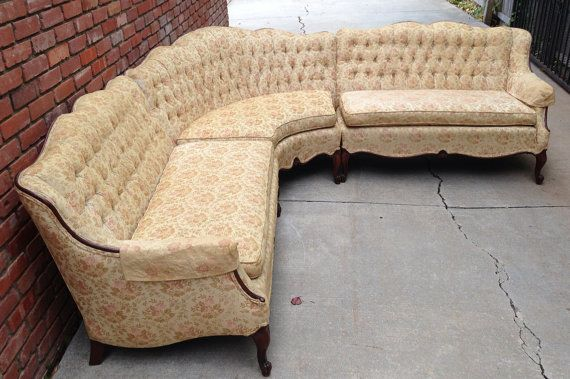 Rare French Provincial Sectional Sofa Tufted Vintage