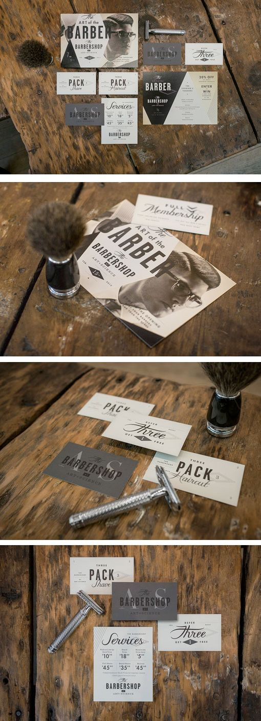 identity and collateral for The Barbershop, by  Firebelly Design