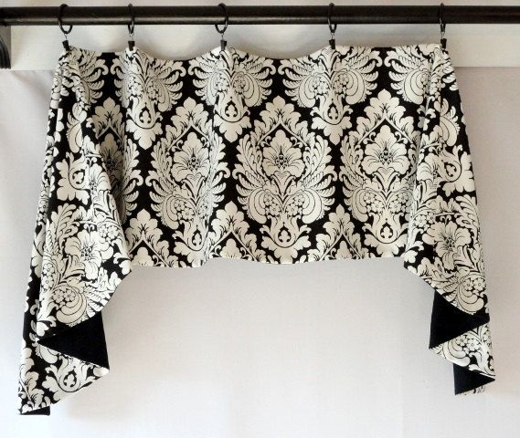 Custom Valance Swag Jabot Design Black White By Sewdevinedesigns 74 00 Fabric On Windows Kitchen Window Treatments