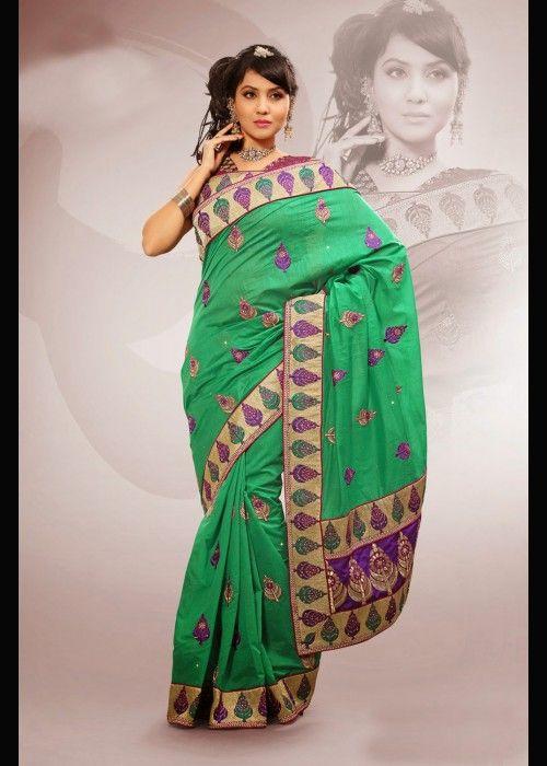Emerald Green Handcrafted Sari In Chenderi Silk . Buy at - http://www.gravity-fashion.com/16973-emerald-green-handcrafted-sari-in-chenderi-silk.html