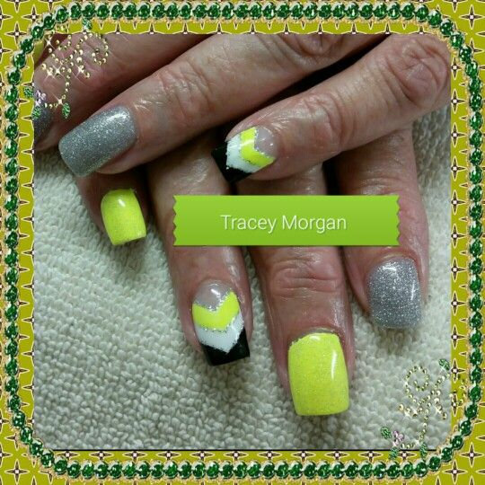 Neon yellow black and silver