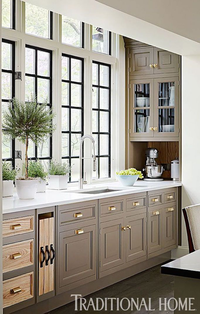 Griege Colors For Cabinets Keystone Gray Remodelingguide Traditional Kitchen Design Taupe Kitchen Cabinets Interior Design Kitchen