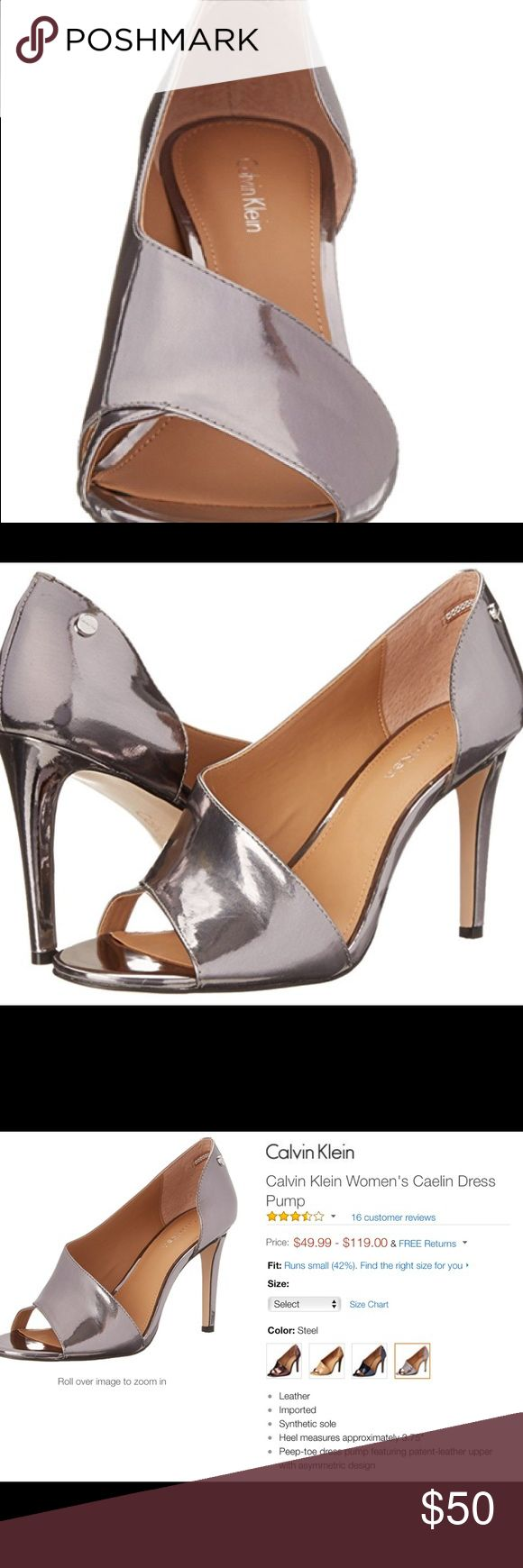 "Calvin Klein Women's Caelin Dress Pump Steel color. Size 9 (runs about 8.5). Heel 3.75"". Gently worn (heel has some scratches - image attached). Peep-toe Dress Pump. No trades. All reasonable offers considered. Calvin Klein Shoes Heels"