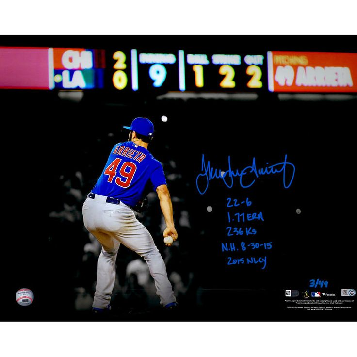 """Jake Arrieta Chicago Cubs Fanatics Authentic Autographed 16"""" x 20"""" 2015 No-Hitter Spotlight Photograph with 2015 Stats Inscriptions - Limited Edition of 49"""