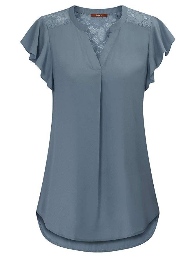 Women/'s Plus Size V Neck Short Sleeve T Shirt Tops Tunic Polka Dot Knot Blouse