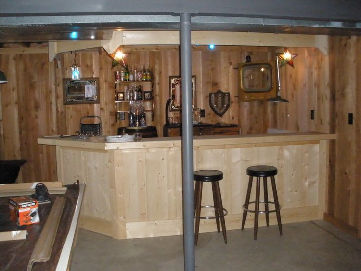 Rustic Basement Bar Design With Unfinished Pine Wood Bar Table And Brown  Wooden Stool And Teak