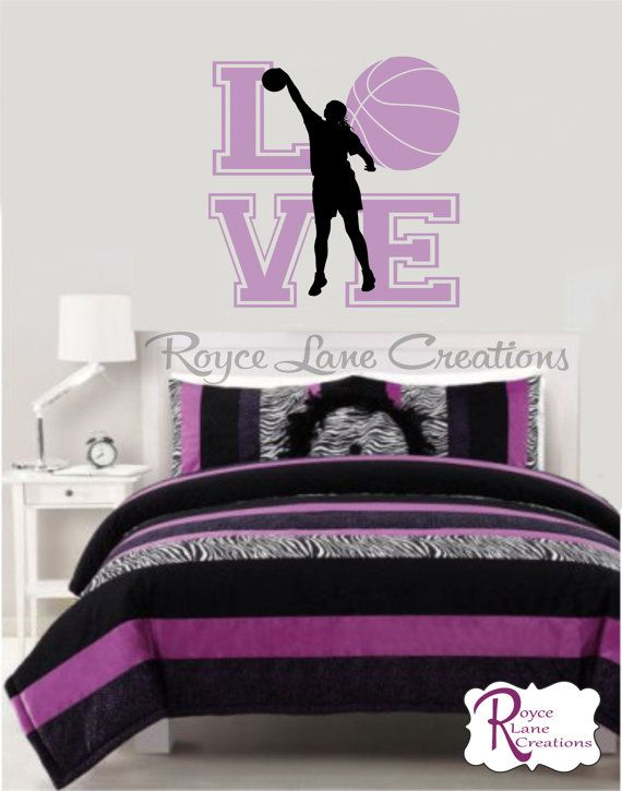 Basketball Wall Decal for Girls Room Teen by RoyceLaneCreations