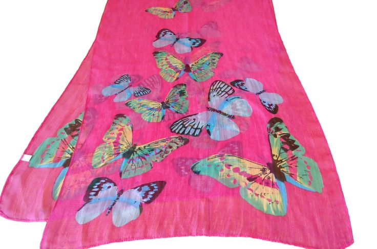Vintage Scarf Fushia Pink Butterflies Sheer Large Scarves Shawl D33 by treasurecoveally on Etsy