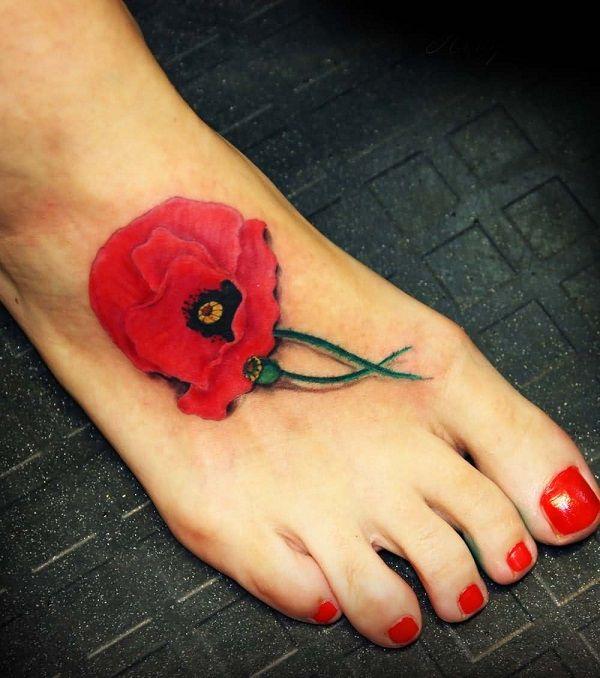 poppy flower tattoo 18 - 70 Poppy Flower Tattoo Ideas