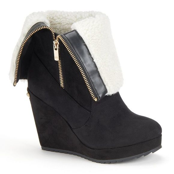 Juicy Couture Black suede fold over wedge boots New in box, runs true to size. Please use offer button for all negotiations  Juicy Couture Shoes Ankle Boots & Booties