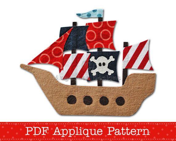 Hey, diesen tollen Etsy-Artikel fand ich bei https://www.etsy.com/de/listing/99274974/pirate-ship-applique-template-pdf