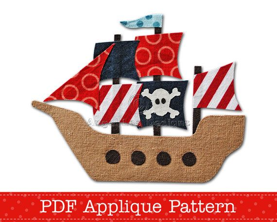 Pirate ship PDF applique template - instant download digital pattern {PDF file}.    The applique template is an outline drawing of the design