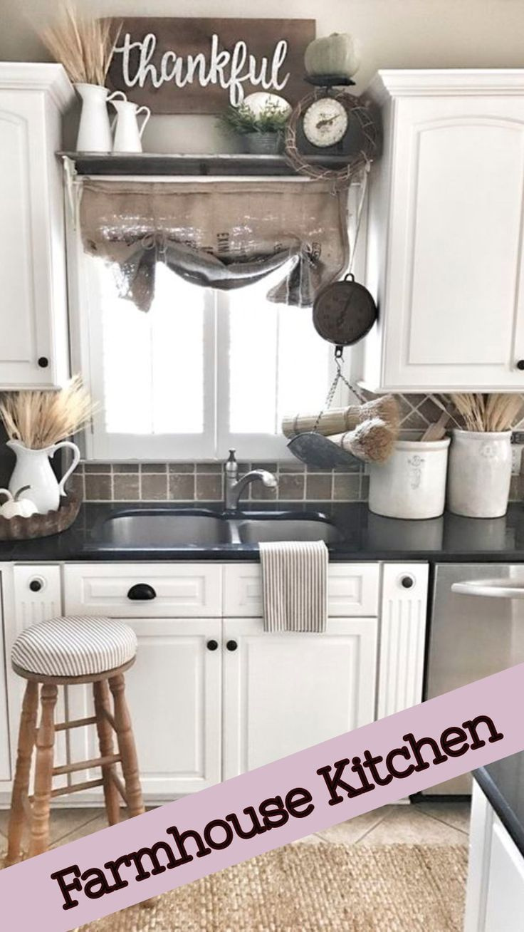 White kitchen cabinets black counter top thankful sign for kitchen rustic canisters for kitchen