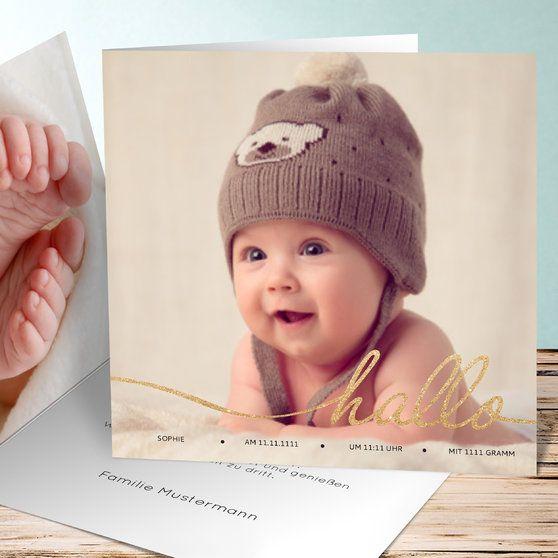 Hallo Baby - Quadratische Klappkarte 145x145
