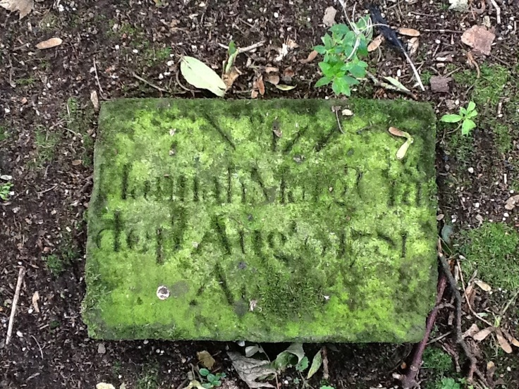 Moravian burial stone, Gracehill, painted in moss