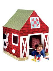 Old McDonald's Playhouse Pattern Bring the farm home with this adorable playhouse that sits on a card table supported by PVC pipes.  Includes a door and windows that open and appliqued farm animals. Your child will spend hours playing in this fun house!