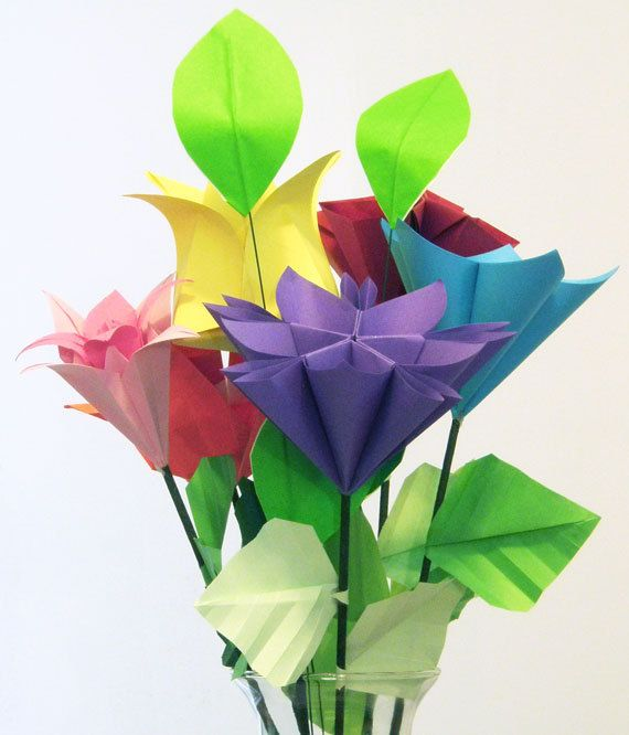 Origami flowers with stems origami tutorial lets make it 224 best origami flowers images on crafts mightylinksfo