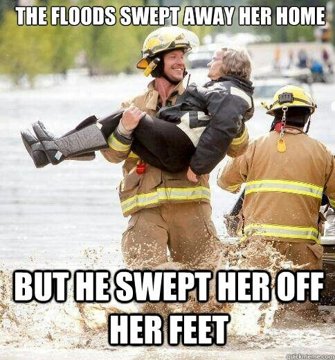 Ridiculously photogenic firefighter. Positive moment during the Calgary flood! #yycflood