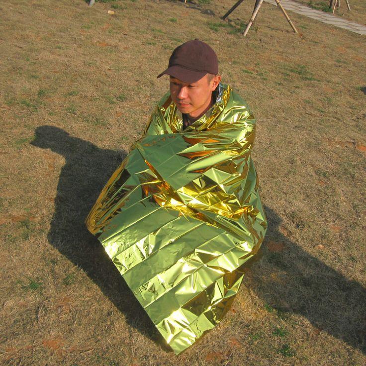 210*140 CM Outdoor Camping Travel Tahan Air Militer Isolasi Darurat Selimut Kelangsungan Hidup Penyelamatan Tirai Selimut Perak