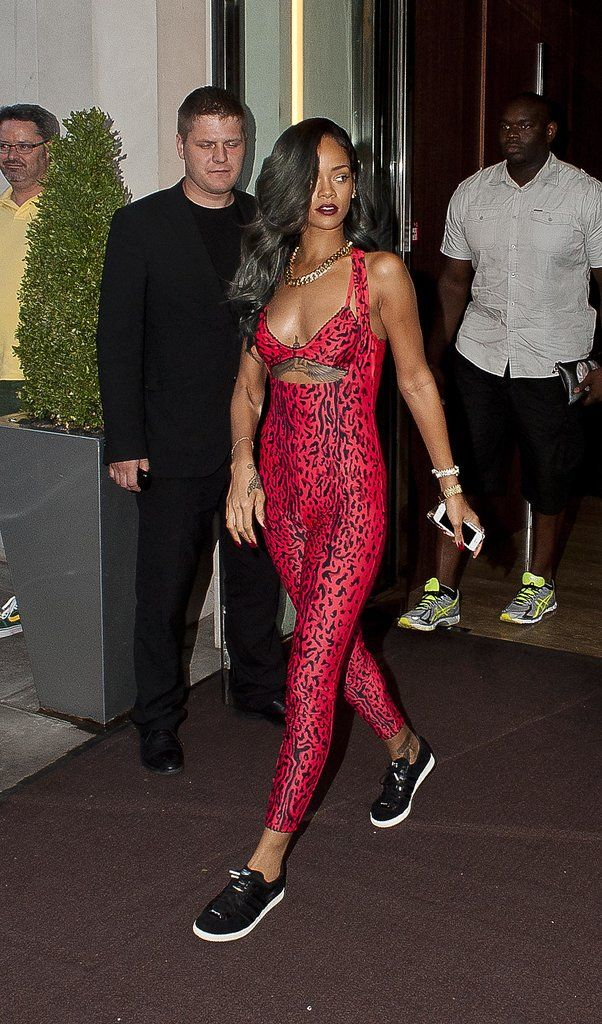 Rihanna went sporty in a bold leopard-print Adidas Originals x Opening Ceremony jumpsuit in July 2013.
