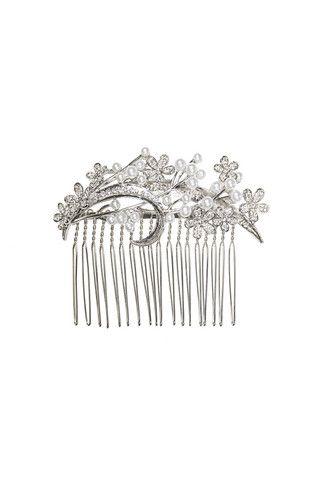 Daisy Comb I Pearl Silver