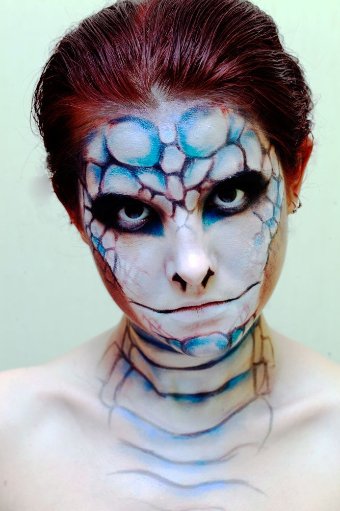fun face paint like a snake the mouth is a little weird or maybe the eyes or maybe the nose maybe she looks like a snake - Fun Makeup Ideas For Halloween