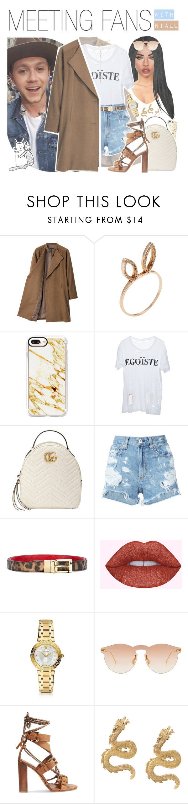 """♡ meeting fans with niall"" by fangirlsets ❤ liked on Polyvore featuring G.V.G.V., Jacquie Aiche, Casetify, Enfants Riches Déprimés, Gucci, rag & bone/JEAN, Dolce&Gabbana, Versace, Illesteva and Etro"