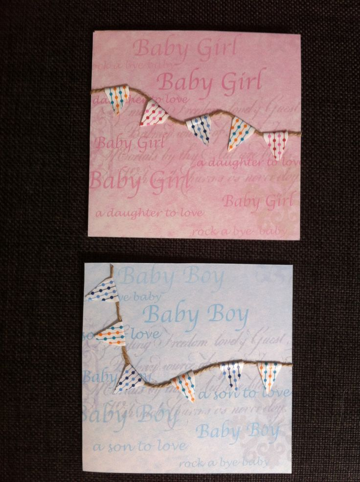 A  girl & boy baby card made with string & washi tape