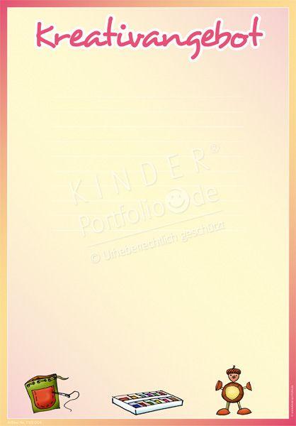 """Kindergarten Portfolio Vorlage """"Kreativangebot"""""""