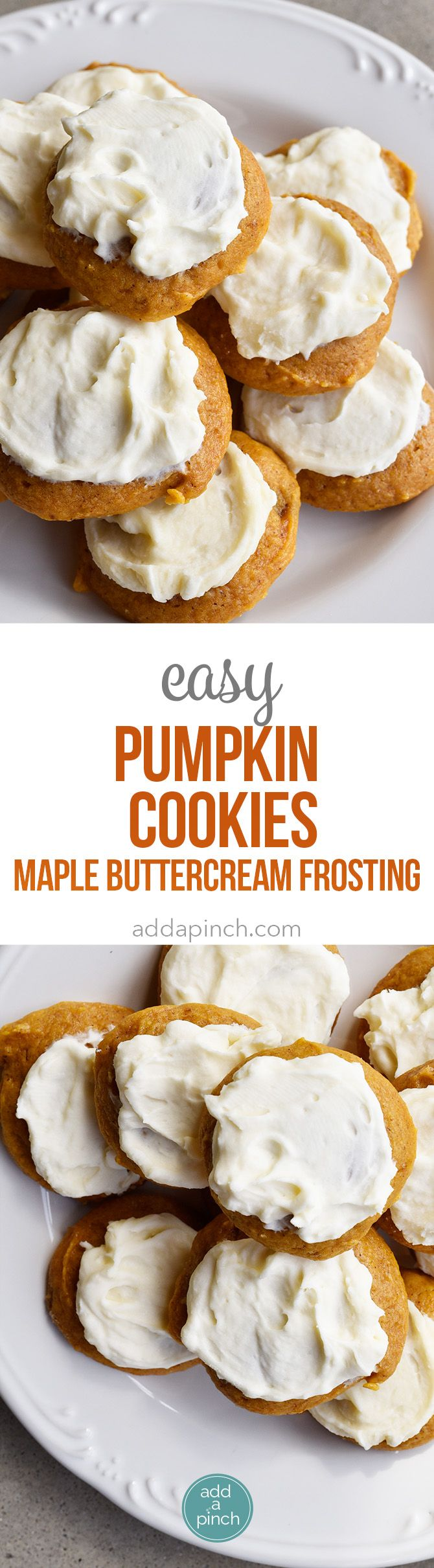 Pumpkin Cookies Recipe with Maple Buttercream Frosting by Add A Pinch - can be made ahead and frozen