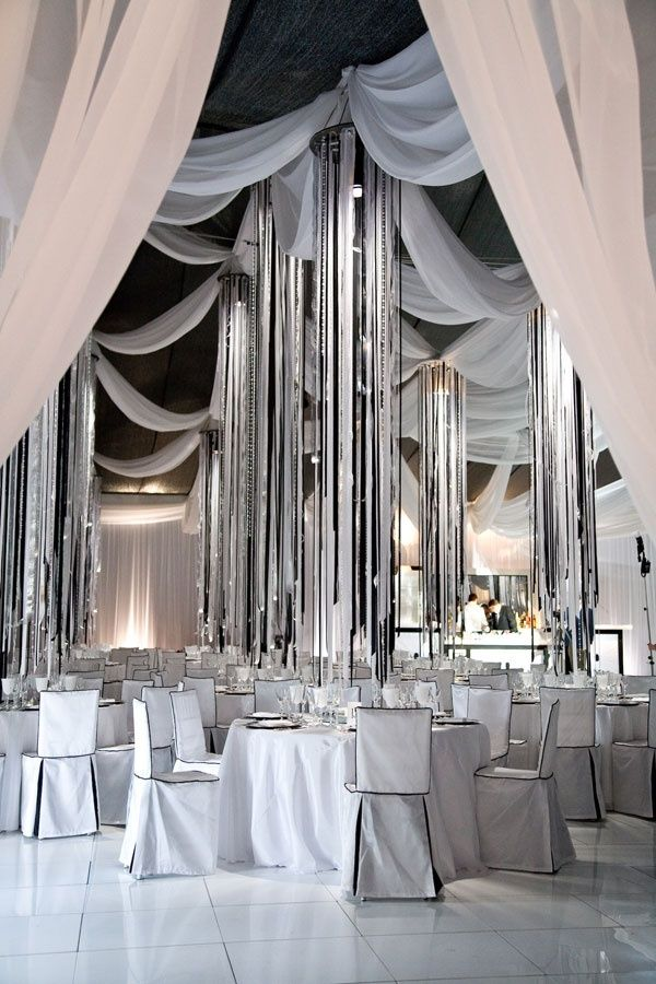 I love the hanging streamers and draped fabric
